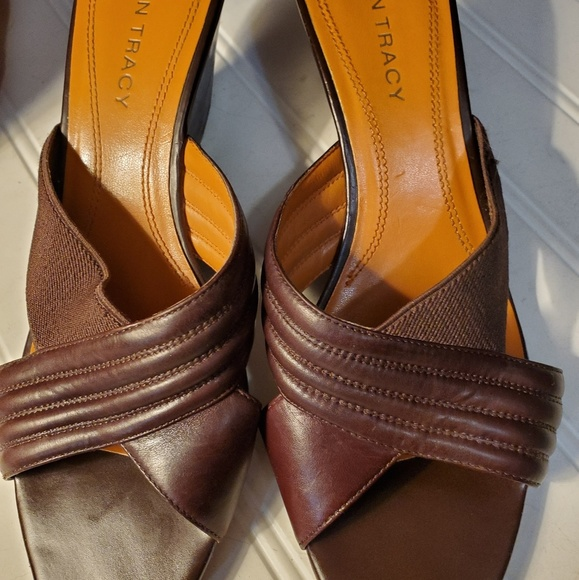 Ellen Tracy Shoes - Brown Leather Sandals